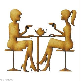 Forme en bois Divers - Dégustation de thé - MDF 5,5 x 5 cm