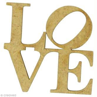 Forme en bois Amour - Love Carré - MDF 3,8 x 3,8 cm