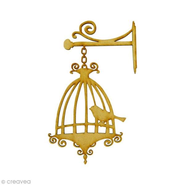 Forme en bois Oiseau - Cage oiseau suspendue - MDF 5,6 x 9,5 cm - Photo n°1