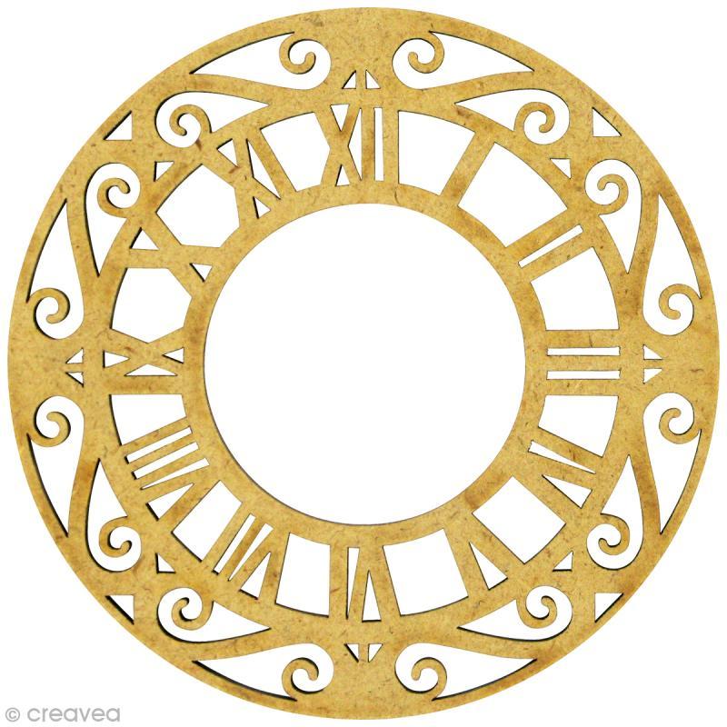 forme en bois divers cadran horloge mdf grand format 9 3 x 9 3 cm embellissement bois. Black Bedroom Furniture Sets. Home Design Ideas