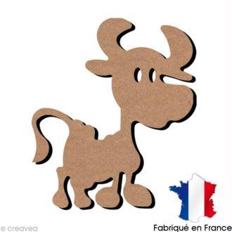 Vache Rigolote en bois à décorer - 12,5 x 15,3 cm