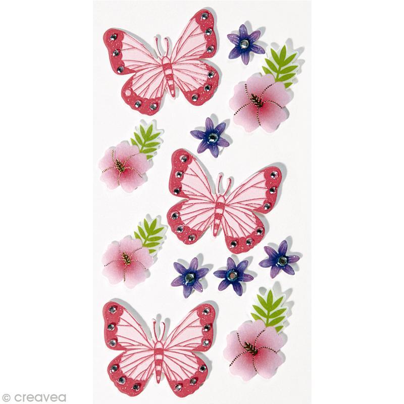 sticker 3d papillons et fleurs x 12 stickers 3d creavea. Black Bedroom Furniture Sets. Home Design Ideas
