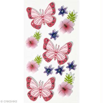 Sticker 3D - Papillons et fleurs x 12