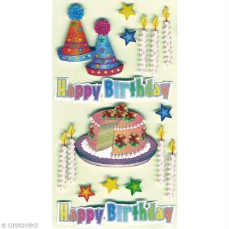 Sticker 3D - Gâteau et bougies x 17