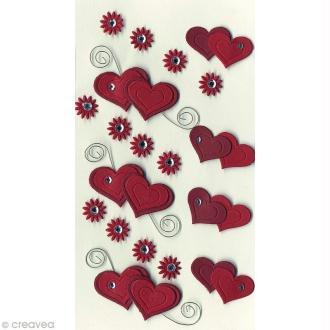 Sticker 3D - Double coeurs et fleurs x 19