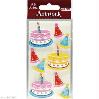 Sticker 3D - Fête d'anniversaire x 9