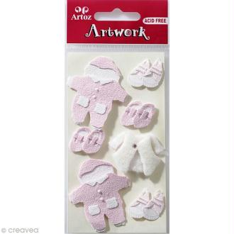 Sticker 3D - Layette Fille x 7