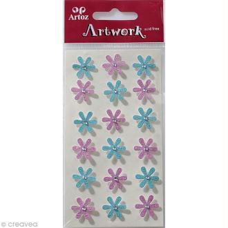 Sticker 3D - Fleurs roses et bleues x 18