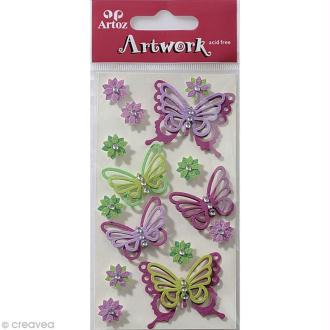 Sticker 3D - Papillon Lilas x 15