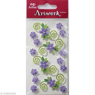 Sticker 3D - Fleurs Lilas x 16