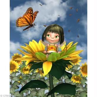 Image 3D Enfant - Fillette tournesol - 24 x 30 cm