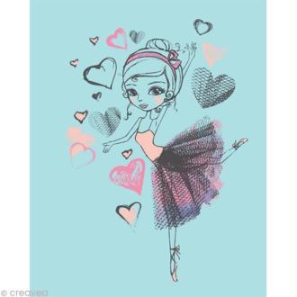 Image 3D Femme - Danseuse fond bleu - 24 x 30 cm
