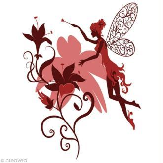 Image 3D Femme - Elfe Rose/Bordeaux - 24 x 30 cm