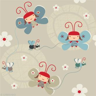 Image 3D Enfant - 3 Personnages papillons - 30 x 30 cm