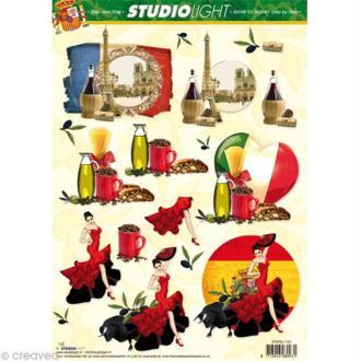 Carte 3D - Flamenco - Huile d'Olive - Tour Eiffel - 21 x 29,7 cm