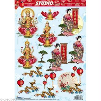 Carte 3D - Chinoise - Indienne - 21 x 29,7 cm