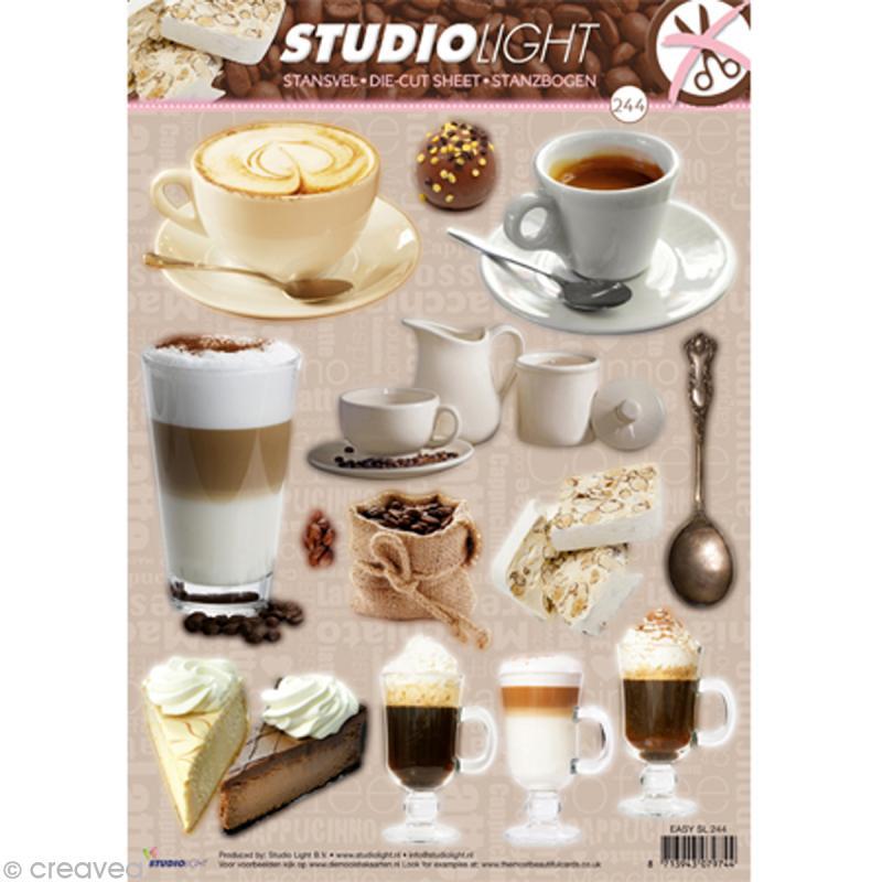 Carte 3D prédécoupée - Cafés - Gâteaux - 21 x 29,7 cm - N°244 - Photo n°1