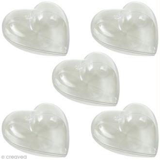 Coeur plastique Transparente pour contact alimentaire - 6 cm x 5