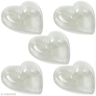 Coeur plastique Transparente pour contact alimentaire - 8 cm x 5