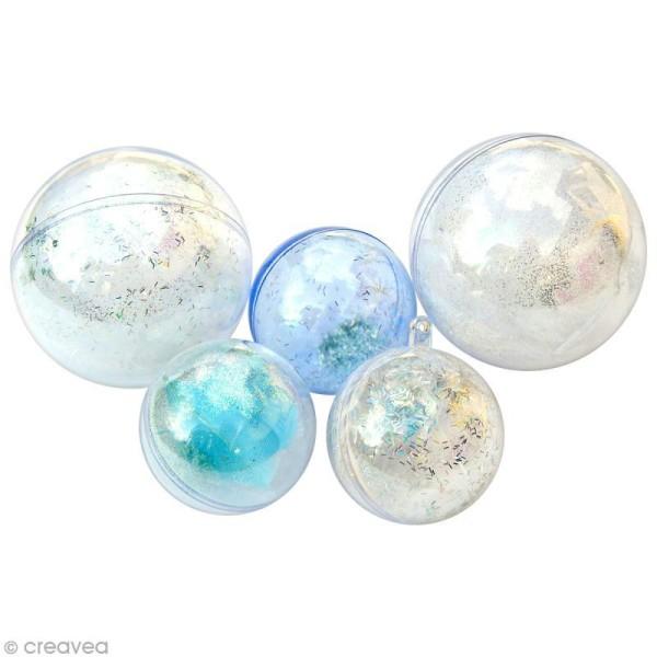 Boule plastique cristal Bleu pour contact alimentaire - 5cm x 5 - Photo n°2