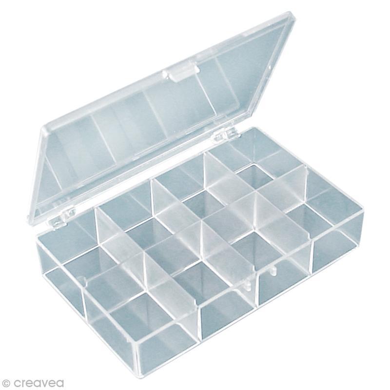 bo te de rangement rectangulaire de 8 compartiments bo te rangement scrapbooking creavea. Black Bedroom Furniture Sets. Home Design Ideas