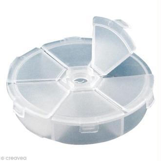 Boîte de rangement ronde de 6 compartiments