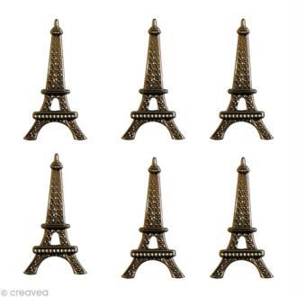 Attaches Parisiennes Scrapbooking - 6 brads Tour Eiffel