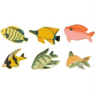 Lot 12 poissons en bois peint