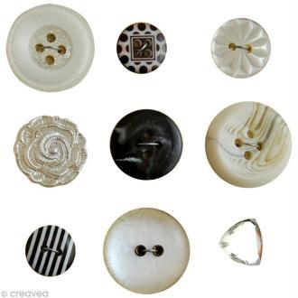 Boutons Vintage Noir et blanc - 9 pièces