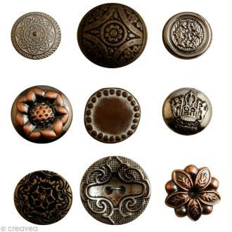 Boutons Vintage Bronze - 9 pièces