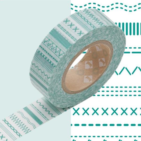 Masking Tape - Deco - Vert Stitch - 15 mm x 10 m - Photo n°1