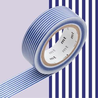 Masking Tape - Deco - Bleu Rayé - 15 mm x 10 m