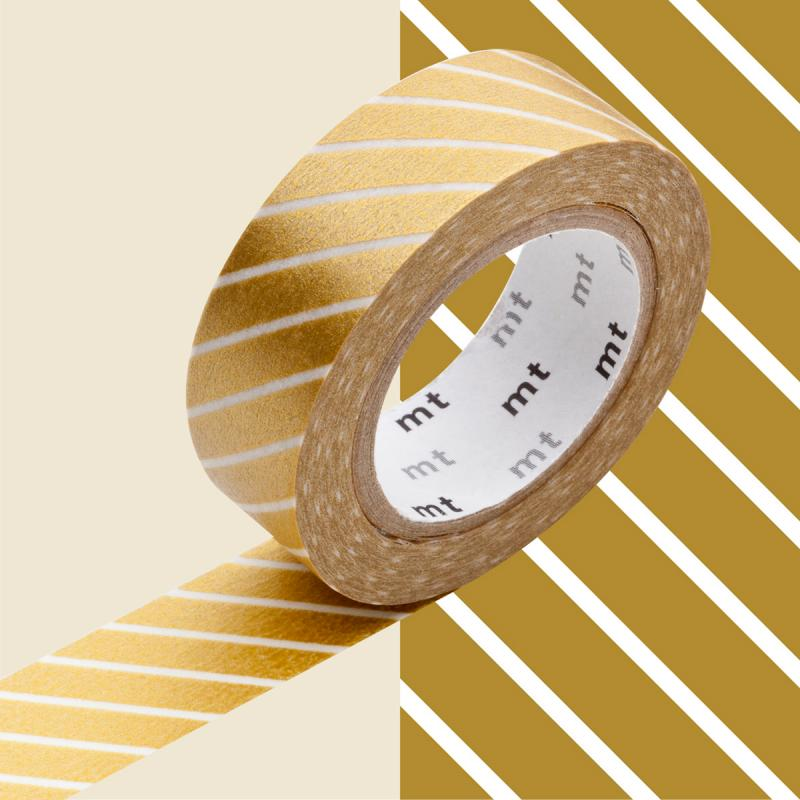 Masking Tape - Deco - Or Rayé - 15 mm x 10 m - Photo n°1