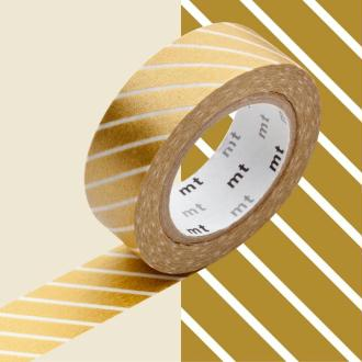 Masking Tape - Deco - Or Rayé - 15 mm x 10 m