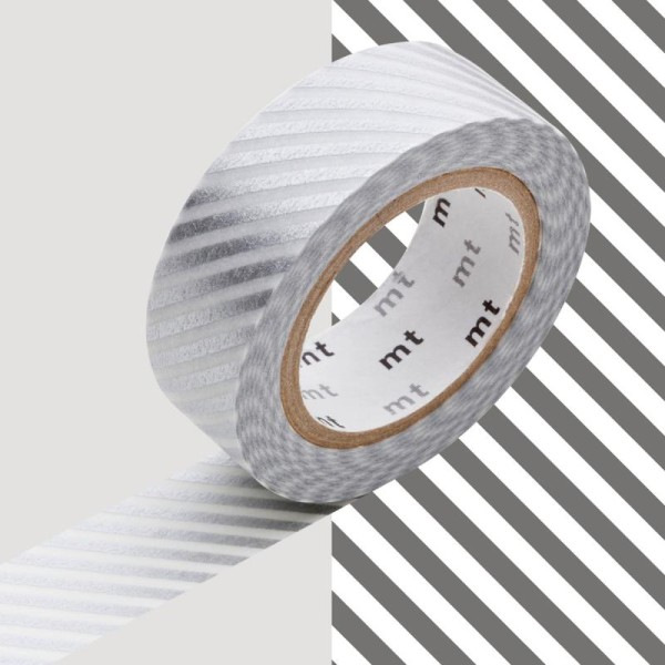 Masking Tape - Deco - Argent Rayé - 15 mm x 10 m - Photo n°1