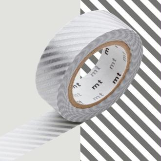 Masking Tape - Deco - Argent Rayé - 15 mm x 10 m