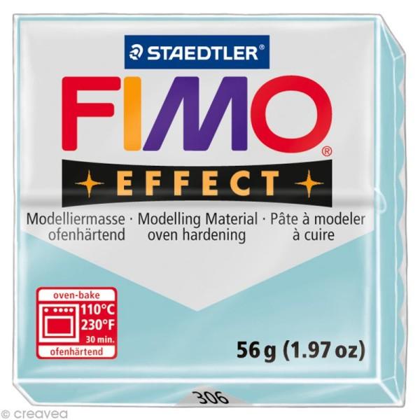 Pâte Fimo Effect Bleu Glacier quartz pailleté translucide 306 - 56 gr - Photo n°1