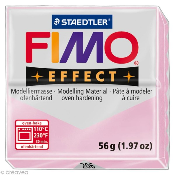 Pâte Fimo Effect Rose Quartz pailleté transluscide 206 - 56 gr - Photo n°1