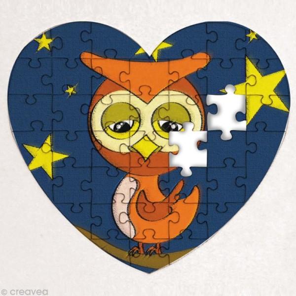 Puzzle en carton blanc à décorer Coeur 40 pièces x 10 - Photo n°2