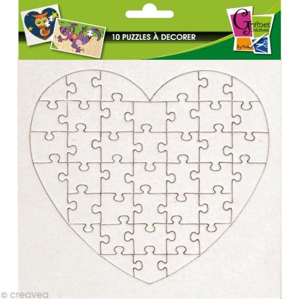 Puzzle en carton blanc à décorer Coeur 40 pièces x 10 - Photo n°1