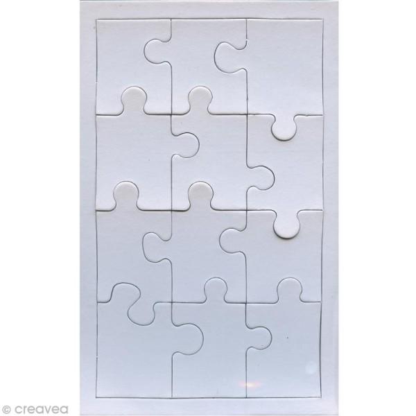 Puzzle en carton blanc à décorer 12 pièces x 10 - Photo n°1