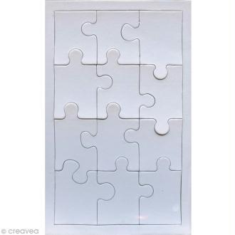 Puzzle en carton blanc à décorer 12 pièces x 10