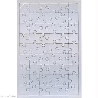 Puzzle en carton blanc à décorer 54 pièces x 10
