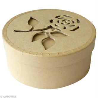 Boite à décorer en carton Rose - 12 cm