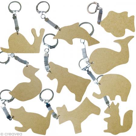 Assortiment porte-clé animal en bois x 10 - Photo n°1