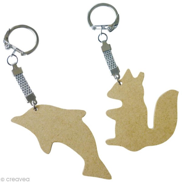 Assortiment porte-clé animal en bois x 10 - Photo n°4