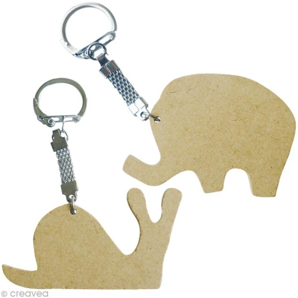 Assortiment porte-clé animal en bois x 10 - Photo n°5