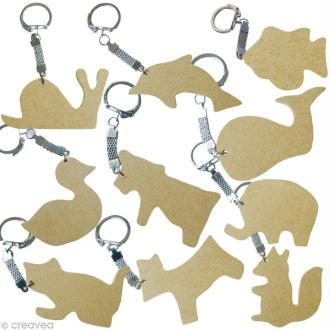 Assortiment porte-clé animal en bois x 10