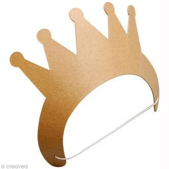 Couronne de princesse en carton à décorer - avec élastique - 24cm