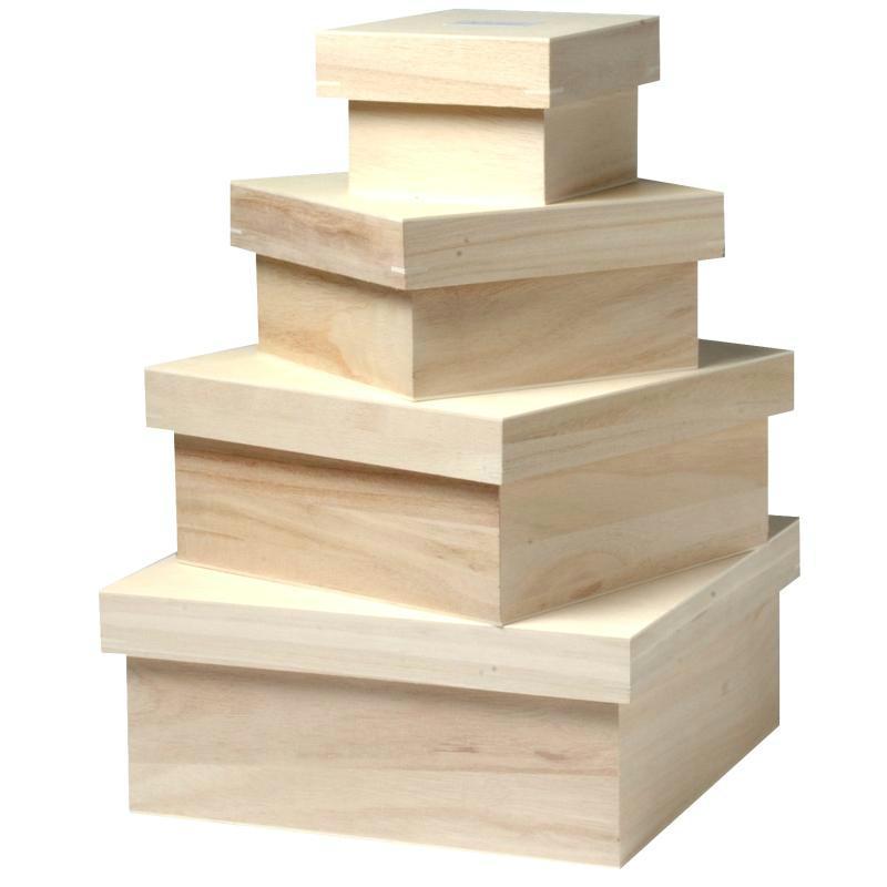 set de 4 grandes boites carr es 24 cm 20 cm 15 cm et 10. Black Bedroom Furniture Sets. Home Design Ideas